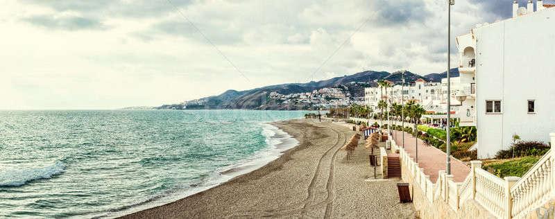 Stock photo: Panorama of empty beach. Nerja, Spain