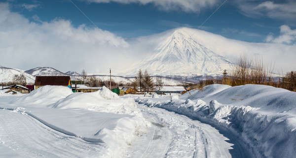 Koryaksky volcano and surrounding snow-covered countryside Stock photo © amok