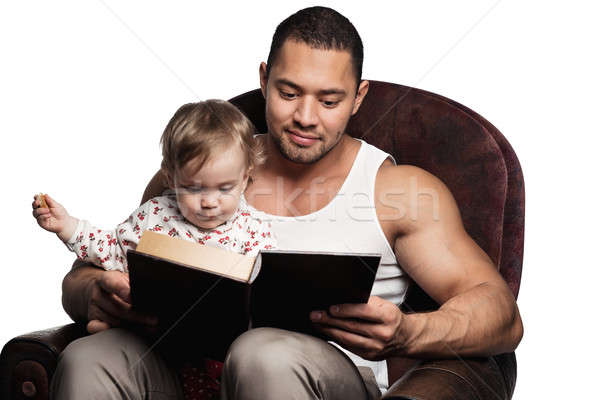 Apa olvas könyv lánygyermek izolált fehér Stock fotó © amok