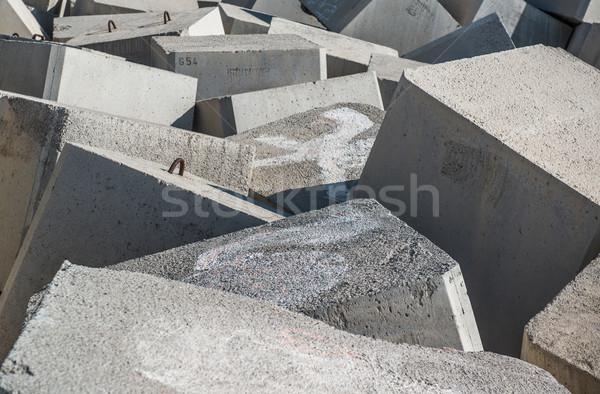Stock photo: Breakwater. Concrete blocks close-up
