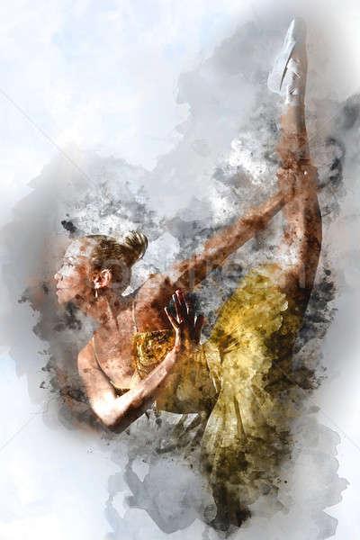 Lovely ballerina. Digital watercolor painting. Stock photo © amok