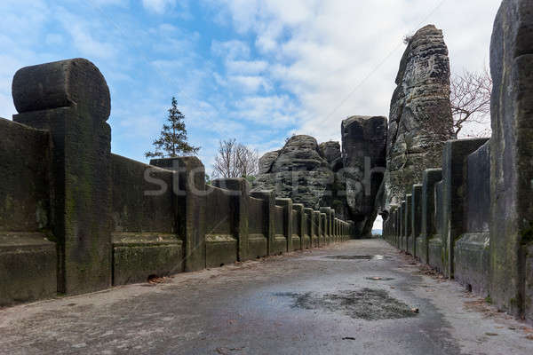 The Bastei Bridge, old stone footbridge. Germany Stock photo © amok