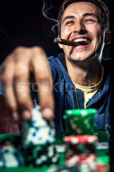 Vrolijk poker speler casino jonge succes Stockfoto © amok