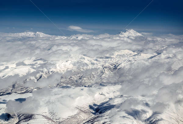 Stock photo: Cloudscape over Koryaksky and Avachinsky volcanoes