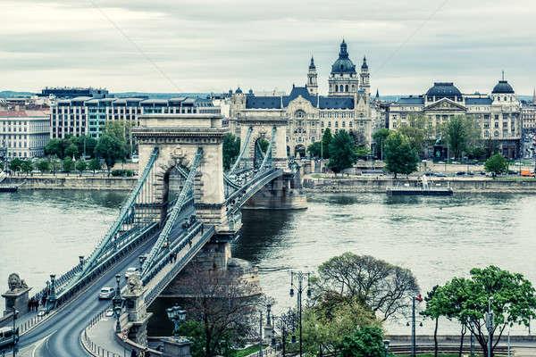 チェーン 橋 ブダペスト 市 ハンガリー 水 ストックフォト © amok