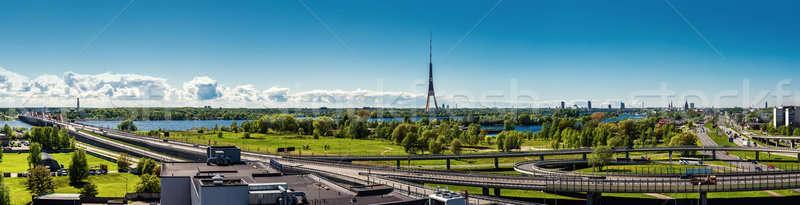 Panorámakép kilátás Riga város Lettország természet Stock fotó © amok