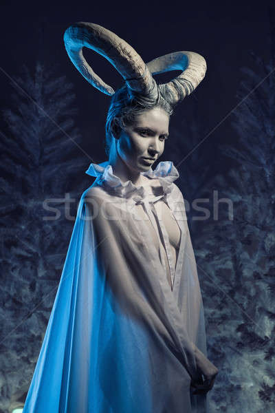 Woman with goat body-art Stock photo © amok