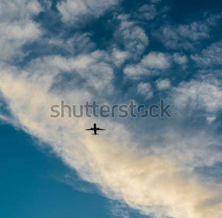 Airplane in the sky at sunset Stock photo © amok