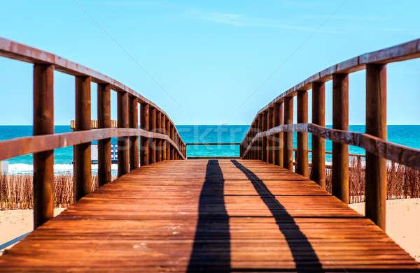 Ahşap plaj pastoral sahne doğa mavi Stok fotoğraf © amok