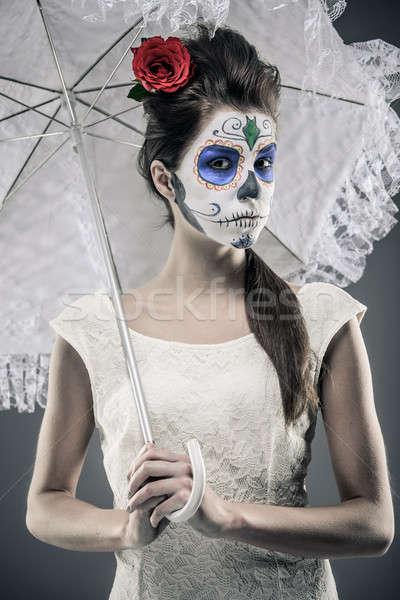 ストックフォト: 日 · 死んだ · 少女 · 砂糖 · 頭蓋骨 · 化粧