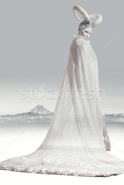 Female with goat body-art Stock photo © amok
