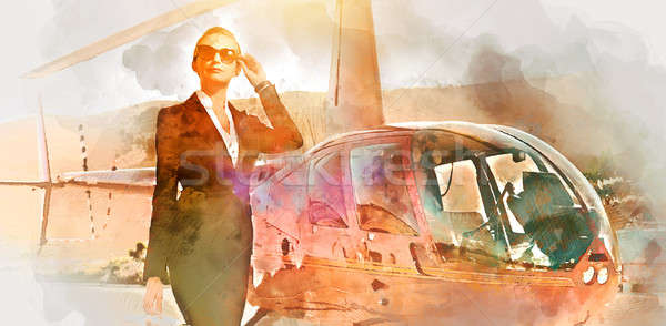 Stock photo: Business woman near the helicopter. Digital watercolor painting