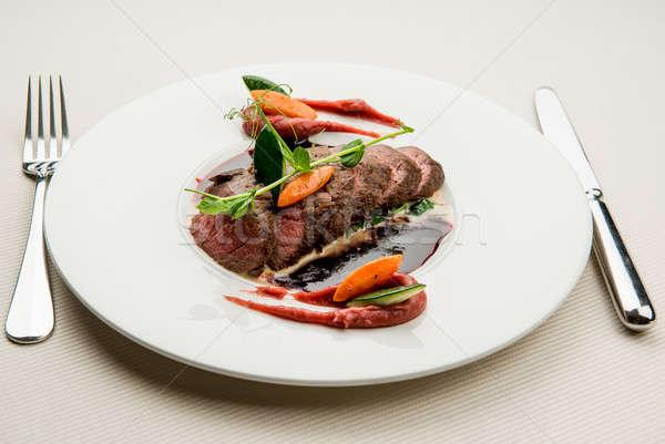 Ikra szarvas filé zöldség zöldségek lila Stock fotó © amok
