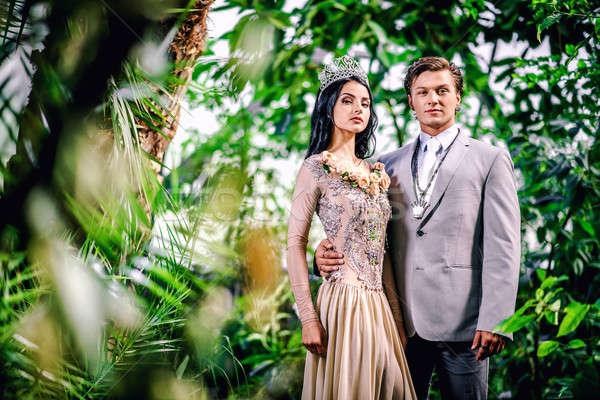 Belle couple dame longtemps robe de soirée Photo stock © amok