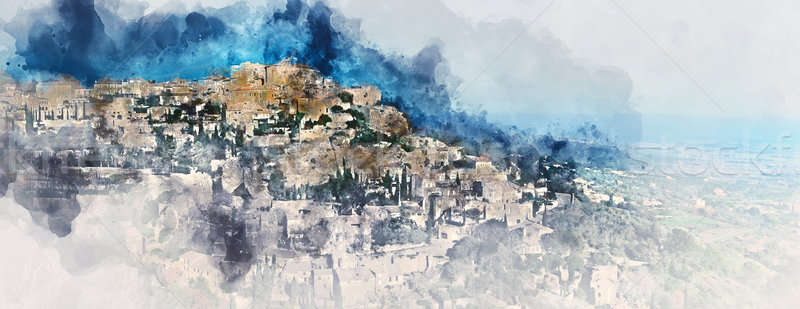 Digital watercolor painting of Gordes. France Stock photo © amok