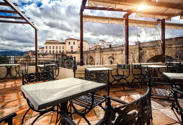 View from the terrace cafe on the Ronda landmark-Puente Nuevo. P Stock photo © amok