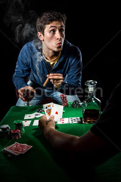 Szerencsejátékos üveg kaszinó fiatal póker stúdió Stock fotó © amok