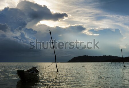 Viharfelhők tenger sziget Thaiföld nap tájkép Stock fotó © amok
