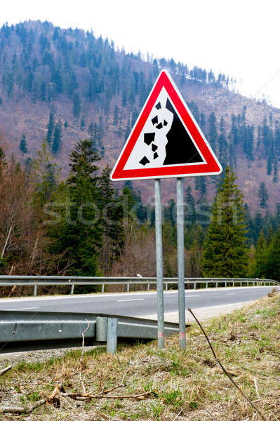 Falling stones, road sign Stock photo © amok