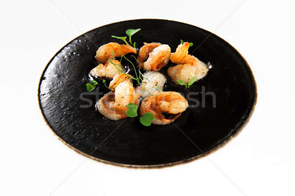 Prawns with black squid ink sauce Stock photo © amok
