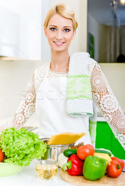 Young woman in the kitchen.Healthy Food. Dieting Concept. Stock photo © amok