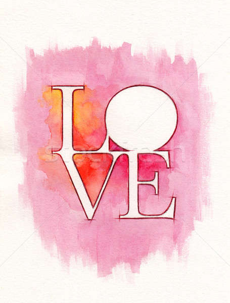 Word LOVE over abstract watercolor painting Stock photo © amok