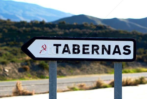 Panneau routier une Espagne nature signe montagnes Photo stock © amok