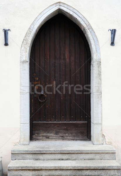 Antica legno porta design vecchio città Foto d'archivio © amok
