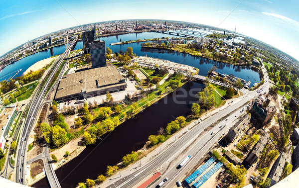 Aerial panoramic fish-eye view of Riga city. Latvia Stock photo © amok