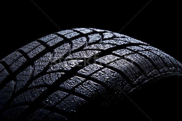 Car tire isolated on black background Stock photo © amok