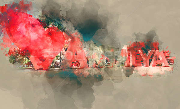 Digital watercolor painting of Love Antalya  Stock photo © amok