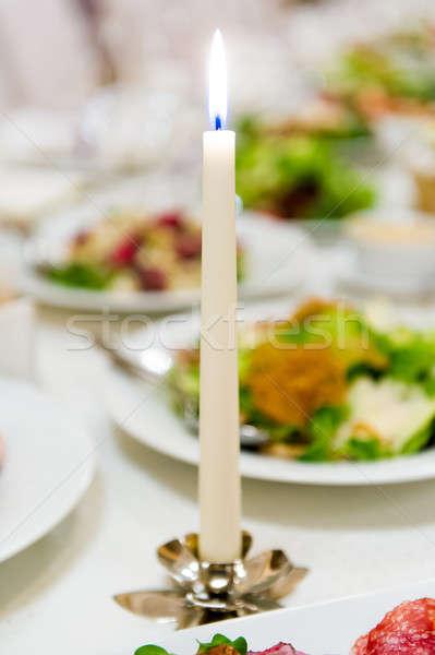 Yanan mum yemek masası akşam yemeği alev tatil Stok fotoğraf © amok