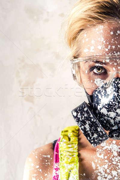 Female wearing a respirator Stock photo © amok
