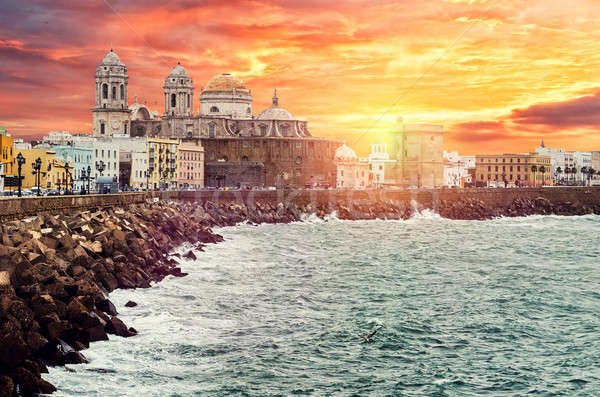 Picturesque view of Cadiz quay and Cathedral Campo del Sur at su Stock photo © amok