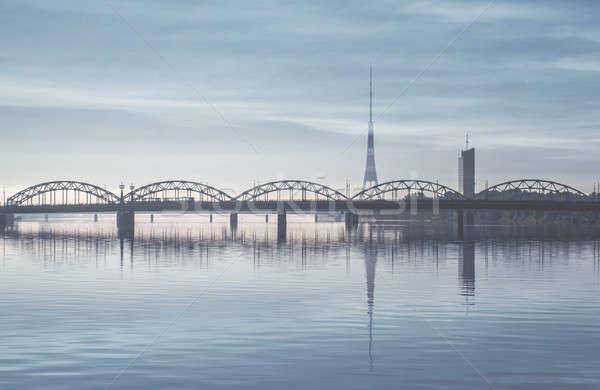Vasút híd folyó Riga Lettország víz Stock fotó © amok