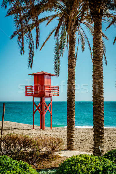 Lifeguard tower on the beach. Benalmadena, Malaga. Spain Stock photo © amok