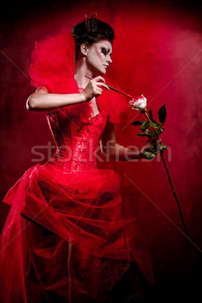 Foto stock: Vermelho · rainha · mulher · criador · make-up · fofo