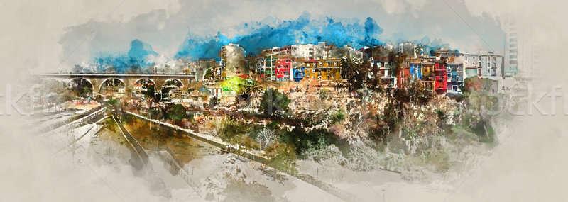 Digital watercolor painting of Villajoyosa town, Spain Stock photo © amok