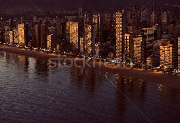 Aerial view of a Benidorm coastline. Costa Blanca, Spain Stock photo © amok