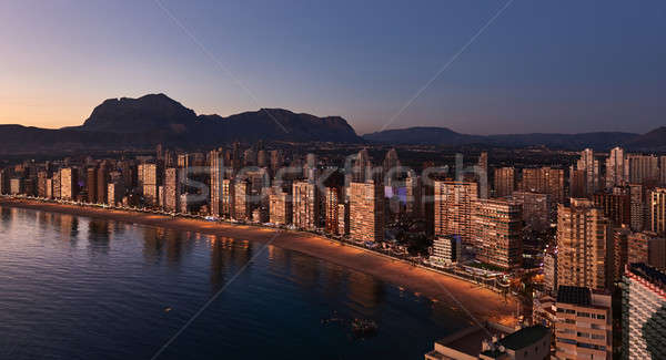 Aerial view of a Benidorm city coastline at sunset. Spain Stock photo © amok