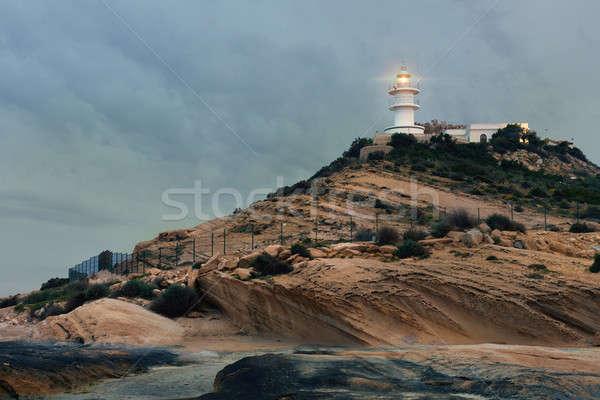 Latarni wcześnie rano budowy krajobraz Chmura wieża Zdjęcia stock © amok