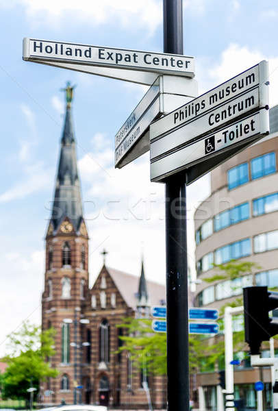 Street sign of Eindhoven landmarks. Netherlands Stock photo © amok