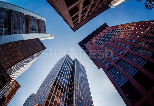 Glas moderne wolkenkrabbers Frankfurt hoofd- Stockfoto © amok