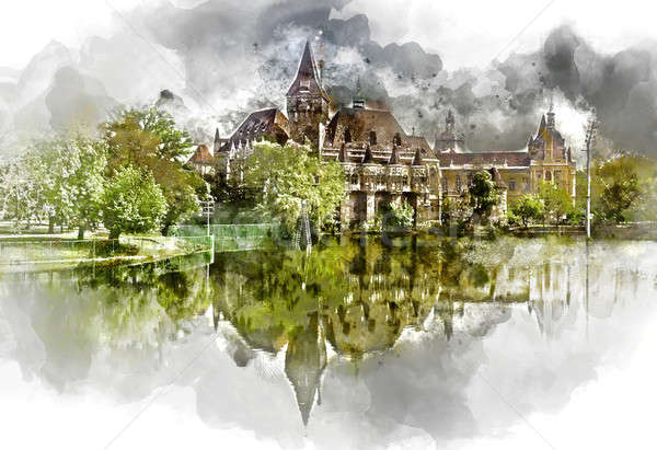 Digital watercolor painting of a Vajdahunyad castle Stock photo © amok