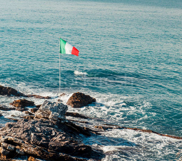 Italian flag and Ligurian Sea Stock photo © amok