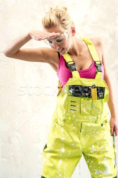 Vrouwelijke verouderd witte meisje werk achtergrond Stockfoto © amok