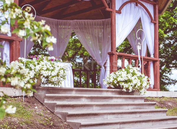 Beautiful wedding gazebo with flower decoration Stock photo © amok