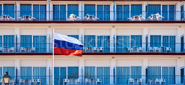Flag of Russia against hotel balconies Stock photo © amok