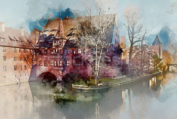 Digital watercolor painting of an ancient architecture and The Pegnitz river in Nuremberg, Bavaria.  Stock photo © amok