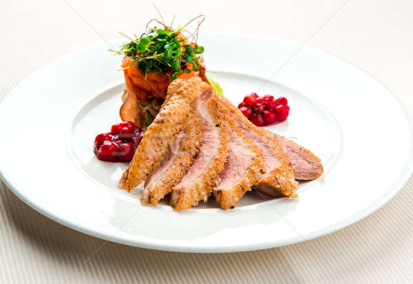 Fileto ördek meme hizmet salata Stok fotoğraf © amok